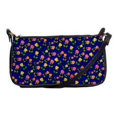 Flowers Roses Floral Flowery Blue Background Shoulder Clutch Bags