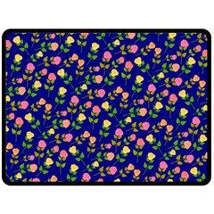 Flowers Roses Floral Flowery Blue Background Fleece Blanket (Large)