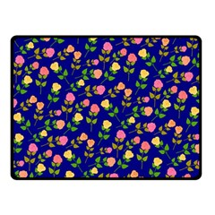 Flowers Roses Floral Flowery Blue Background Fleece Blanket (Small)