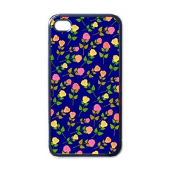 Flowers Roses Floral Flowery Blue Background Apple Iphone 4 Case (black)