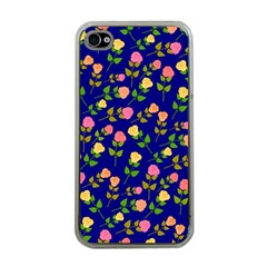 Flowers Roses Floral Flowery Blue Background Apple iPhone 4 Case (Clear)
