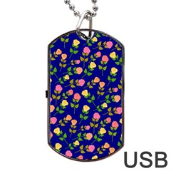 Flowers Roses Floral Flowery Blue Background Dog Tag Usb Flash (two Sides)