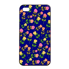 Flowers Roses Floral Flowery Blue Background Apple iPhone 4/4s Seamless Case (Black)