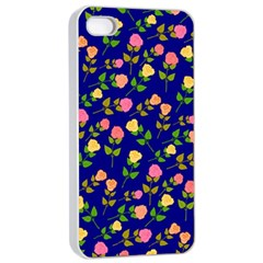 Flowers Roses Floral Flowery Blue Background Apple Iphone 4/4s Seamless Case (white)