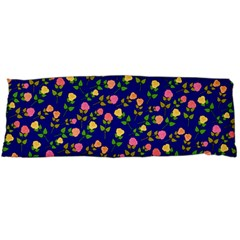 Flowers Roses Floral Flowery Blue Background Body Pillow Case (Dakimakura)