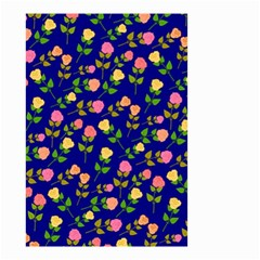 Flowers Roses Floral Flowery Blue Background Small Garden Flag (Two Sides)