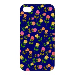 Flowers Roses Floral Flowery Blue Background Apple iPhone 4/4S Premium Hardshell Case