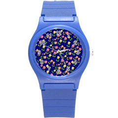 Flowers Roses Floral Flowery Blue Background Round Plastic Sport Watch (S)