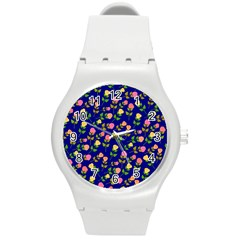 Flowers Roses Floral Flowery Blue Background Round Plastic Sport Watch (M)