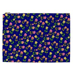Flowers Roses Floral Flowery Blue Background Cosmetic Bag (XXL)