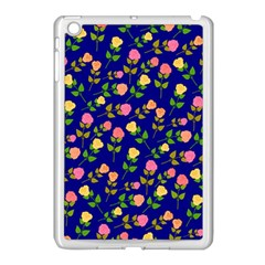 Flowers Roses Floral Flowery Blue Background Apple iPad Mini Case (White)