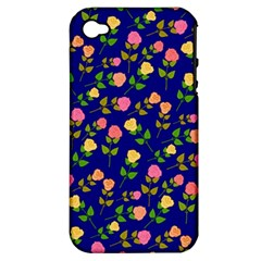 Flowers Roses Floral Flowery Blue Background Apple iPhone 4/4S Hardshell Case (PC+Silicone)