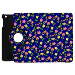 Flowers Roses Floral Flowery Blue Background Apple iPad Mini Flip 360 Case