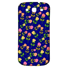 Flowers Roses Floral Flowery Blue Background Samsung Galaxy S3 S III Classic Hardshell Back Case