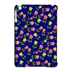 Flowers Roses Floral Flowery Blue Background Apple iPad Mini Hardshell Case (Compatible with Smart Cover)