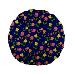 Flowers Roses Floral Flowery Blue Background Standard 15  Premium Round Cushions