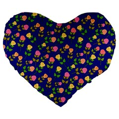 Flowers Roses Floral Flowery Blue Background Large 19  Premium Heart Shape Cushions