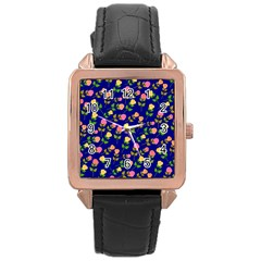 Flowers Roses Floral Flowery Blue Background Rose Gold Leather Watch