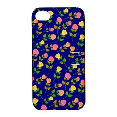Flowers Roses Floral Flowery Blue Background Apple Iphone 4/4s Hardshell Case With Stand