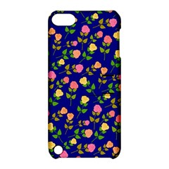 Flowers Roses Floral Flowery Blue Background Apple Ipod Touch 5 Hardshell Case With Stand