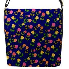 Flowers Roses Floral Flowery Blue Background Flap Messenger Bag (s)