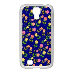 Flowers Roses Floral Flowery Blue Background Samsung Galaxy S4 I9500/ I9505 Case (white)