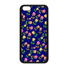 Flowers Roses Floral Flowery Blue Background Apple iPhone 5C Seamless Case (Black)