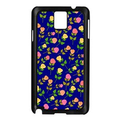 Flowers Roses Floral Flowery Blue Background Samsung Galaxy Note 3 N9005 Case (Black)