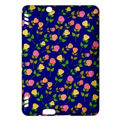 Flowers Roses Floral Flowery Blue Background Kindle Fire HDX Hardshell Case