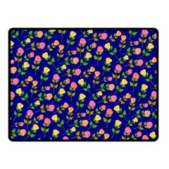Flowers Roses Floral Flowery Blue Background Double Sided Fleece Blanket (Small)