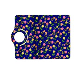 Flowers Roses Floral Flowery Blue Background Kindle Fire Hd (2013) Flip 360 Case