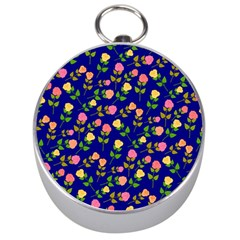 Flowers Roses Floral Flowery Blue Background Silver Compasses