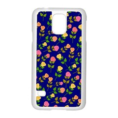 Flowers Roses Floral Flowery Blue Background Samsung Galaxy S5 Case (White)