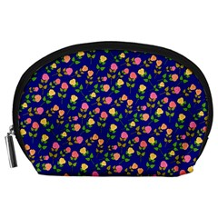 Flowers Roses Floral Flowery Blue Background Accessory Pouches (Large)