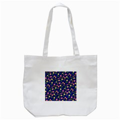 Flowers Roses Floral Flowery Blue Background Tote Bag (White)