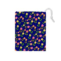 Flowers Roses Floral Flowery Blue Background Drawstring Pouches (Medium)