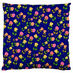 Flowers Roses Floral Flowery Blue Background Large Flano Cushion Case (One Side)