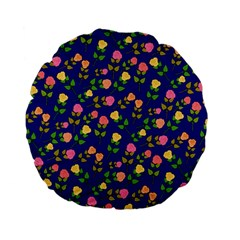 Flowers Roses Floral Flowery Blue Background Standard 15  Premium Flano Round Cushions