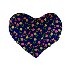 Flowers Roses Floral Flowery Blue Background Standard 16  Premium Flano Heart Shape Cushions