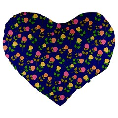 Flowers Roses Floral Flowery Blue Background Large 19  Premium Flano Heart Shape Cushions