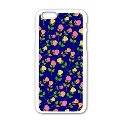 Flowers Roses Floral Flowery Blue Background Apple iPhone 6/6S White Enamel Case