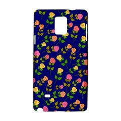 Flowers Roses Floral Flowery Blue Background Samsung Galaxy Note 4 Hardshell Case