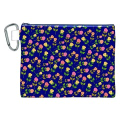 Flowers Roses Floral Flowery Blue Background Canvas Cosmetic Bag (XXL)