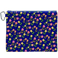 Flowers Roses Floral Flowery Blue Background Canvas Cosmetic Bag (XXXL)