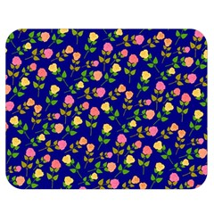 Flowers Roses Floral Flowery Blue Background Double Sided Flano Blanket (medium)