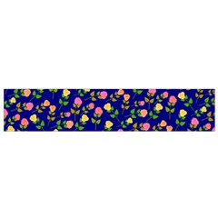 Flowers Roses Floral Flowery Blue Background Flano Scarf (small)