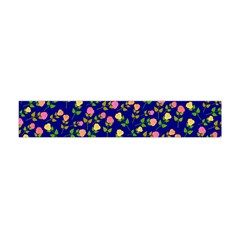 Flowers Roses Floral Flowery Blue Background Flano Scarf (Mini)