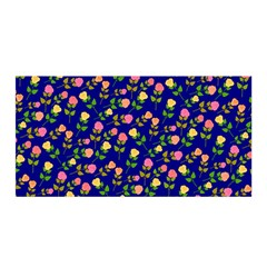Flowers Roses Floral Flowery Blue Background Satin Wrap