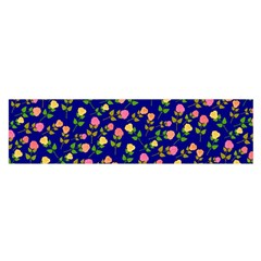 Flowers Roses Floral Flowery Blue Background Satin Scarf (oblong)