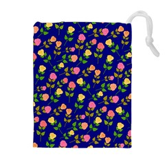 Flowers Roses Floral Flowery Blue Background Drawstring Pouches (Extra Large)